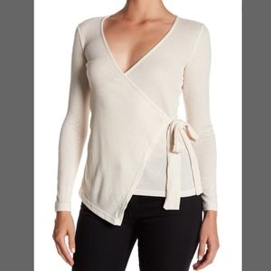 NWT Bobeau wrap tie front knit blouse